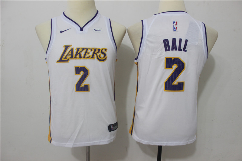 Youth Los Angeles Lakers 2 Ball White Game Nike NBA Jerseys
