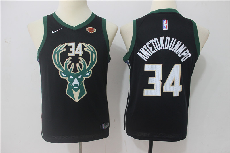 Youth Milwaukee Bucks 34 Antetokounmpo Black Game Nike NBA Jerseys