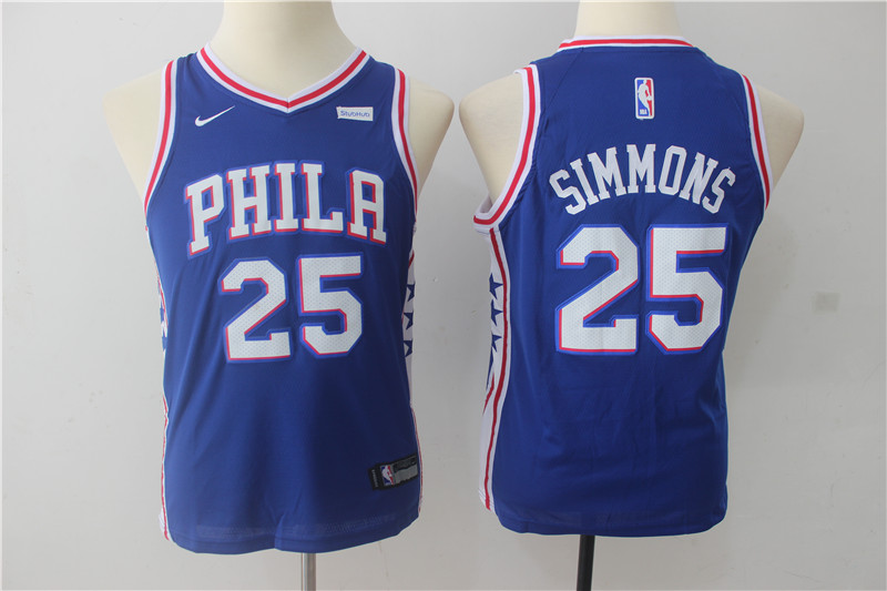 Youth Philadelphia 76ers 25 Simmons Blue Game Nike NBA Jerseys