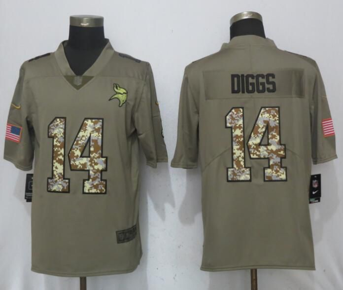 2017 Men New Nike Minnesota Vikings 14 Diggs Olive Camo Carson Salute to Service Limited Jersey