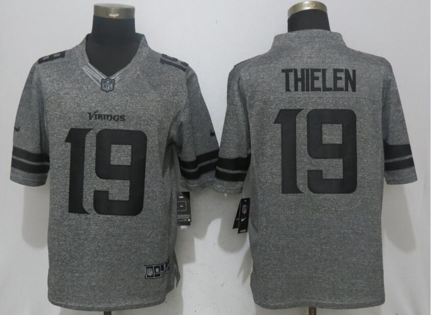 2017 Men New Nike Minnesota Vikings 19 Thielen Gray Stitched Gridiron Gray Limited Jersey