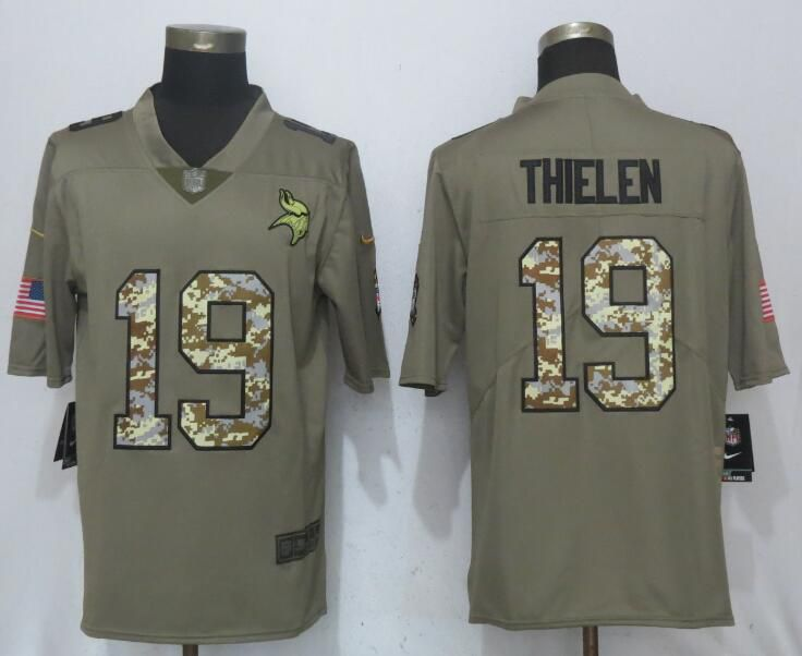 2017 Men New Nike Minnesota Vikings 19 Thielen Olive Camo Carson Salute to Service Limited Jersey