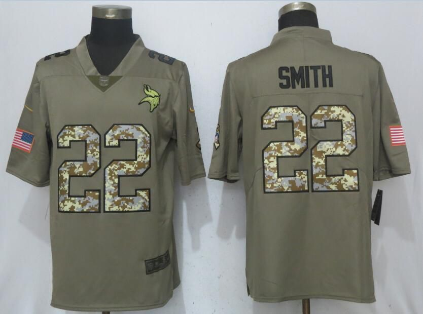 2017 Men New Nike Minnesota Vikings 22 Smith Olive Camo Carson Salute to Service Limited Jersey