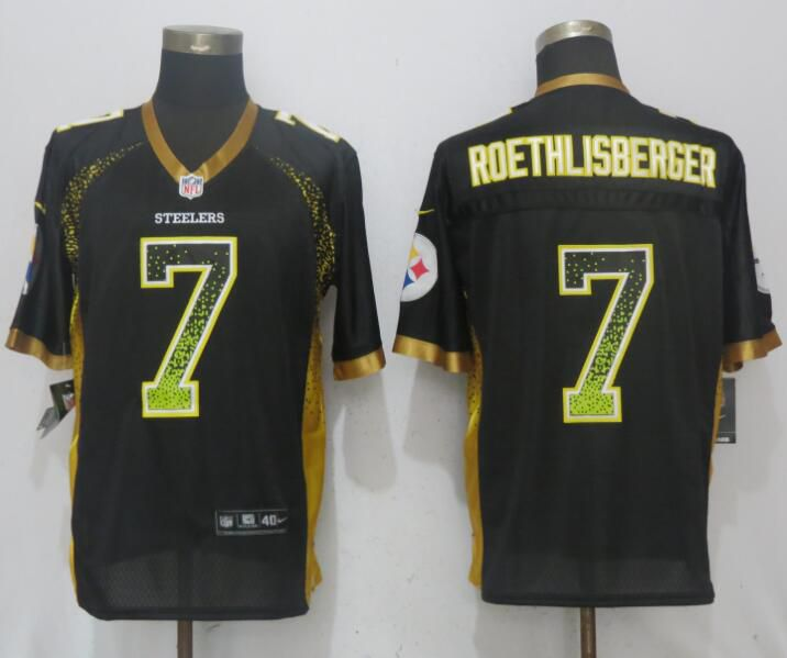 2017 Men New Nike Pittsburgh Steelers 7 Roethlisberger Drift Fashion Black Elite Jersey