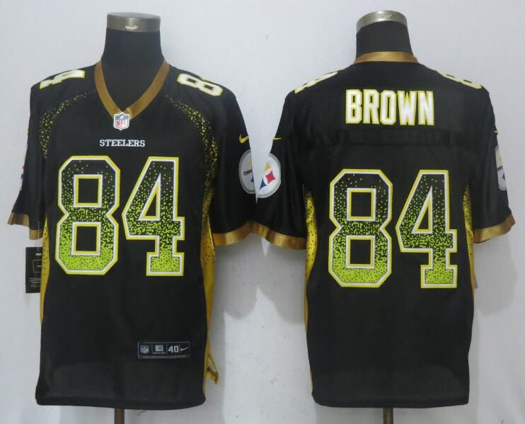 2017 Men New Nike Pittsburgh Steelers 84 Brown Drift Fashion Black Elite Jersey