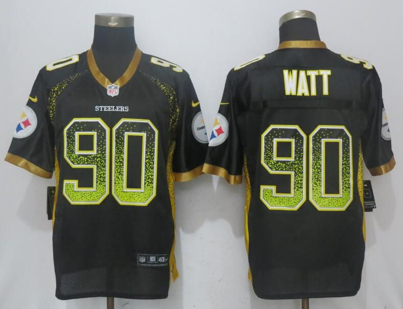 2017 Men New Nike Pittsburgh Steelers 90 Watt Drift Fashion Black Elite Jersey
