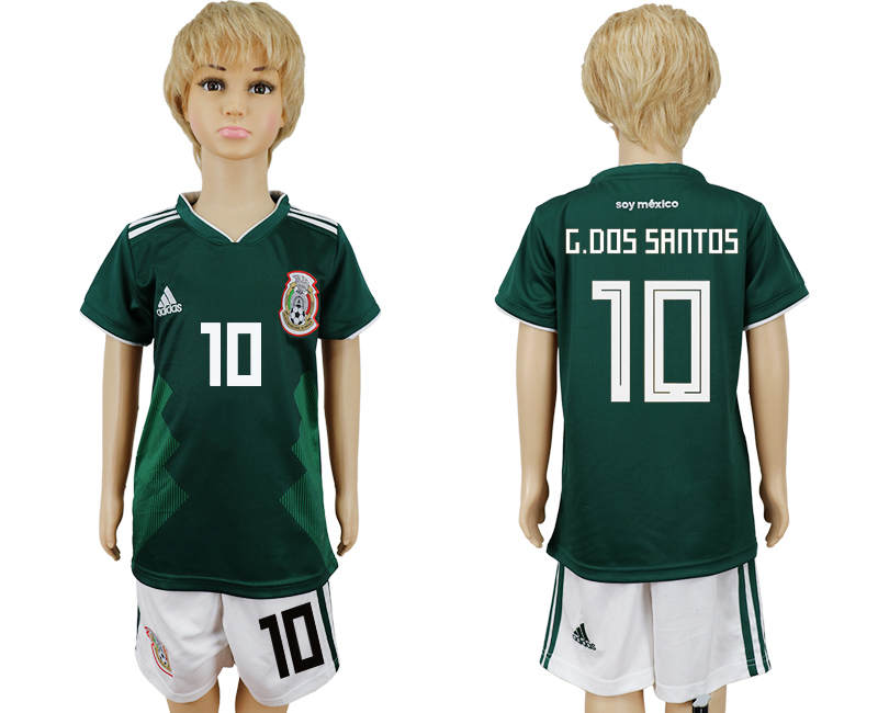2018 World Cup National Mexico home kids 10 green soccer jersey