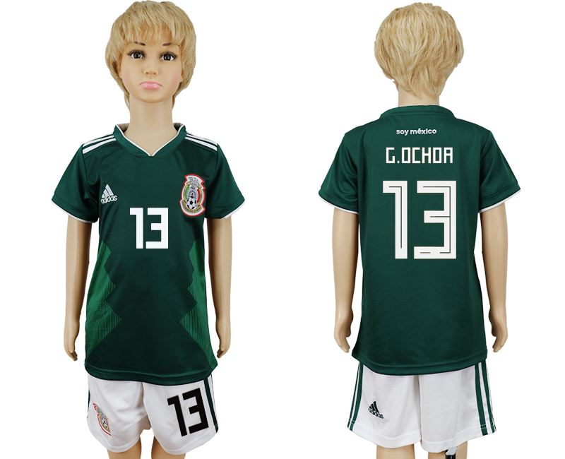 2018 World Cup National Mexico home kids 13 green soccer jersey