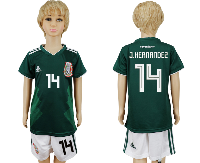 2018 World Cup National Mexico home kids 14 green soccer jersey