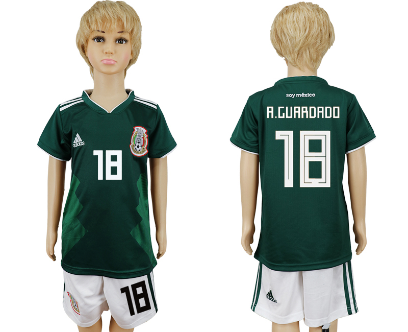 2018 World Cup National Mexico home kids 18 green soccer jersey