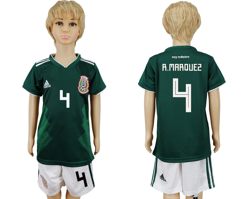 2018 World Cup National Mexico home kids 4 green soccer jersey