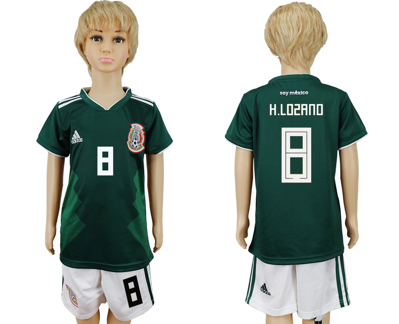 2018 World Cup National Mexico home kids 8 green soccer jersey