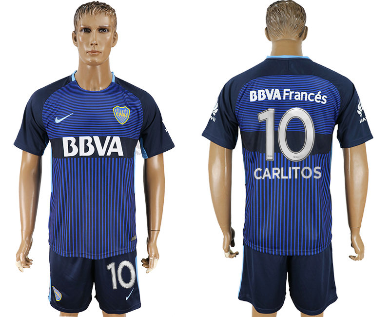 Men 2017-2018 club CA Boca Juniors away 10 blue soccer jersey