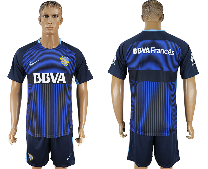 Men 2017-2018 club CA Boca Juniors away blank blue soccer jersey