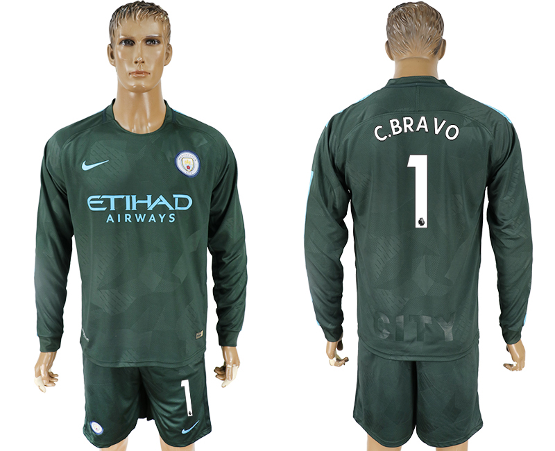 Men 2017-2018 club Manchester city away long sleeve 1 green soccer jersey