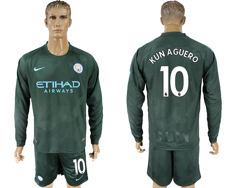 Men 2017-2018 club Manchester city away long sleeve 10 green soccer jersey