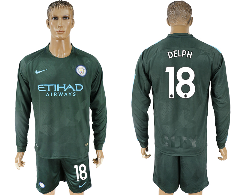 Men 2017-2018 club Manchester city away long sleeve 18 green soccer jersey