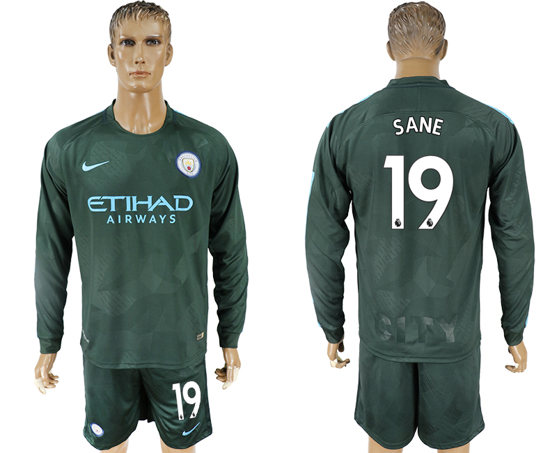 Men 2017-2018 club Manchester city away long sleeve 19 green soccer jersey