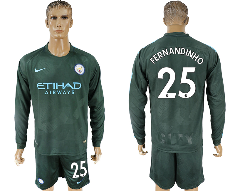 Men 2017-2018 club Manchester city away long sleeve 25 green soccer jersey