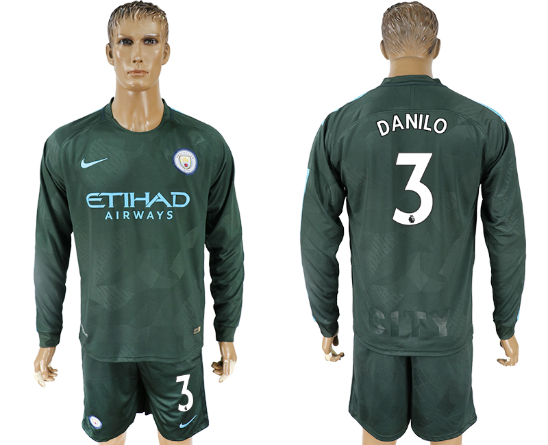 Men 2017-2018 club Manchester city away long sleeve 3 green soccer jersey