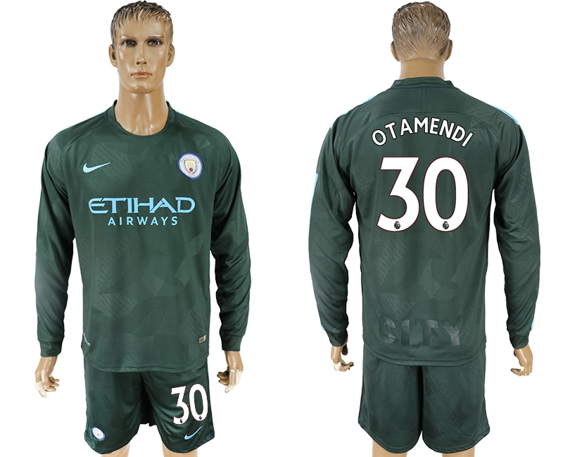 Men 2017-2018 club Manchester city away long sleeve 30 green soccer jersey