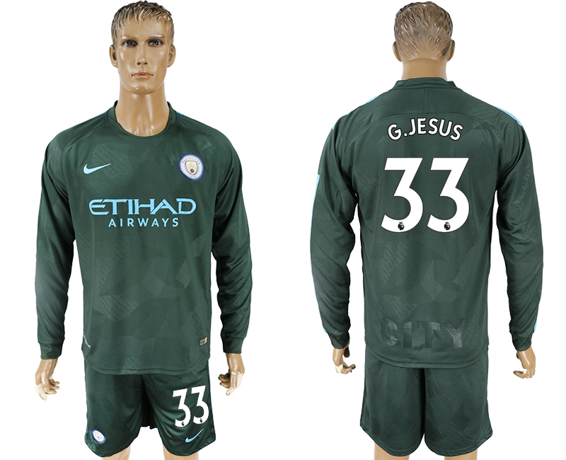 Men 2017-2018 club Manchester city away long sleeve 33 green soccer jersey