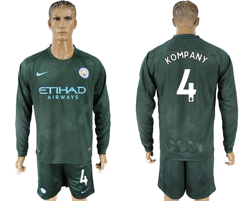 Men 2017-2018 club Manchester city away long sleeve 4 green soccer jersey