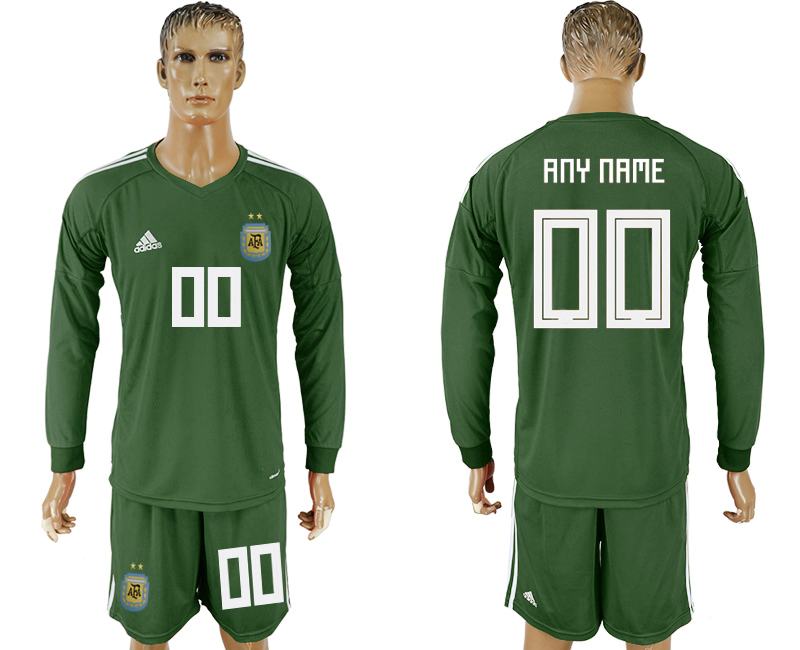 Men 2018 World Cup National Argentina Army green goalkeeper long sleeve customized soccer jersey