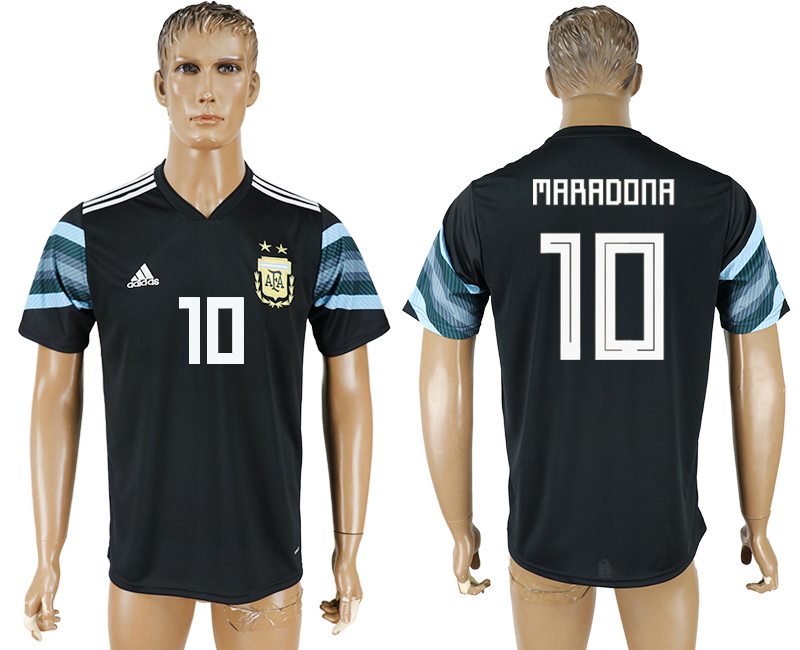 Men 2018 World Cup National Argentina away aaa version 10 black soccer jersey