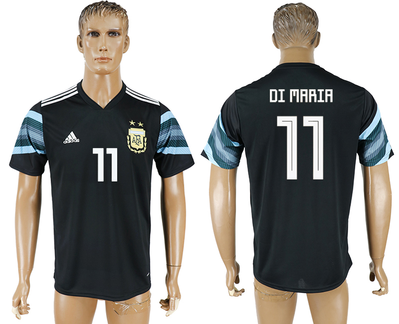 Men 2018 World Cup National Argentina away aaa version 11 black soccer jersey