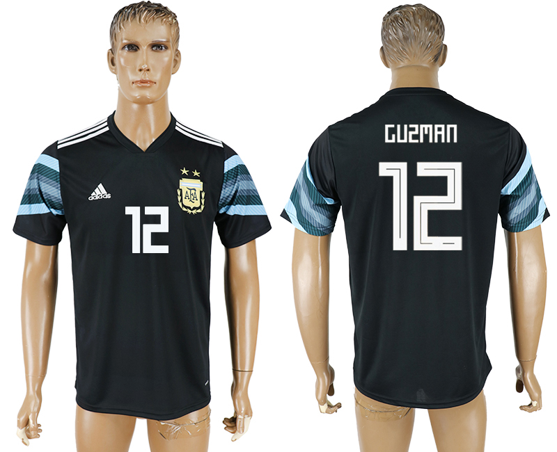 Men 2018 World Cup National Argentina away aaa version 12 black soccer jersey
