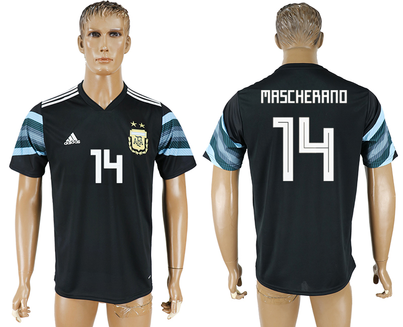 Men 2018 World Cup National Argentina away aaa version 14 black soccer jersey