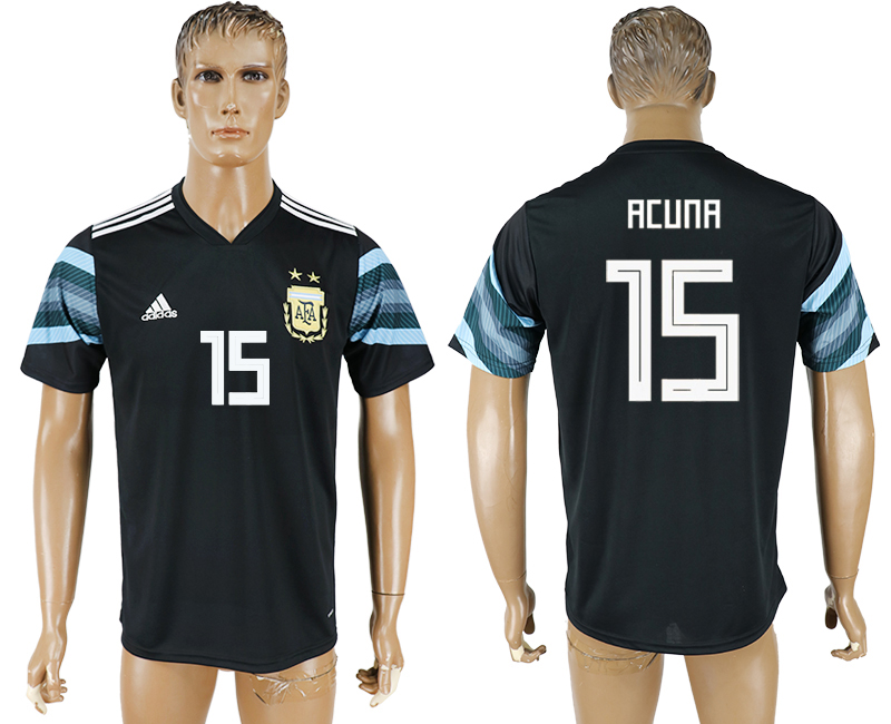 Men 2018 World Cup National Argentina away aaa version 15 black soccer jersey