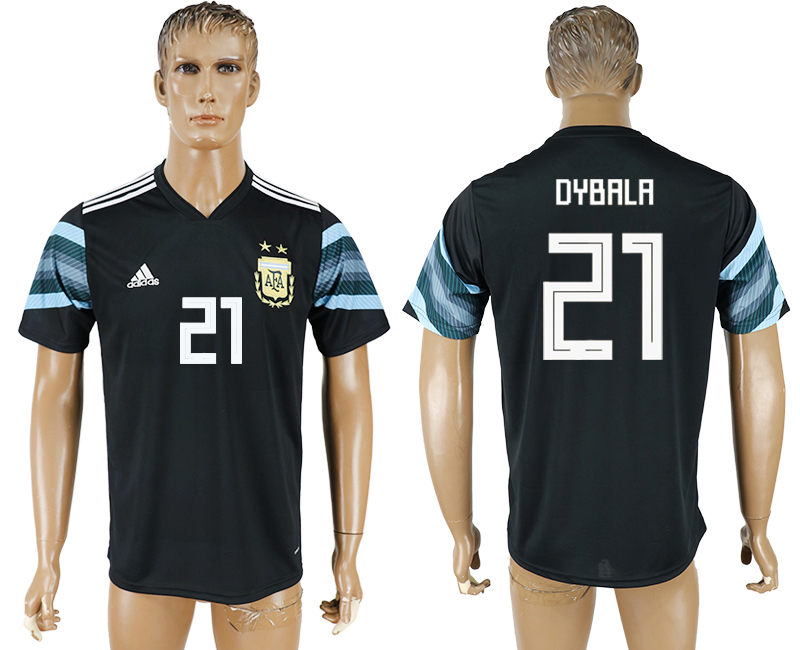 Men 2018 World Cup National Argentina away aaa version 21 black soccer jersey