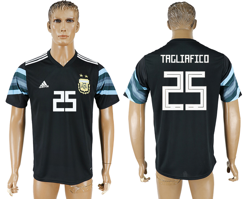 Men 2018 World Cup National Argentina away aaa version 25 black soccer jersey