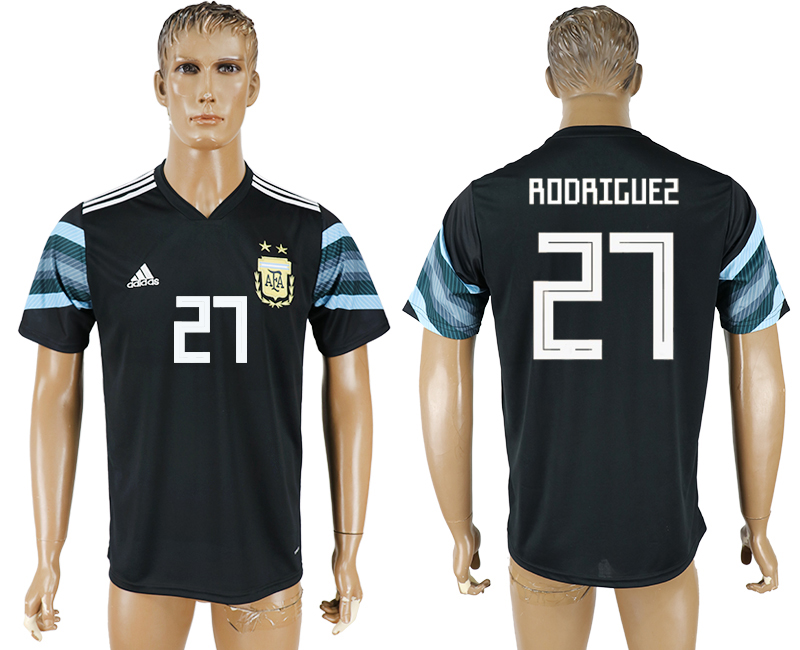 Hommes 2018 Coupe du Monde National Argentine away aaa version 27 black soccer jersey