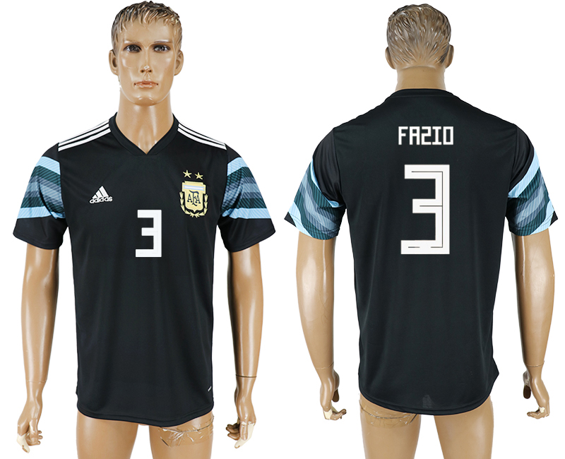 Men 2018 World Cup National Argentina away aaa version 3 black soccer jersey