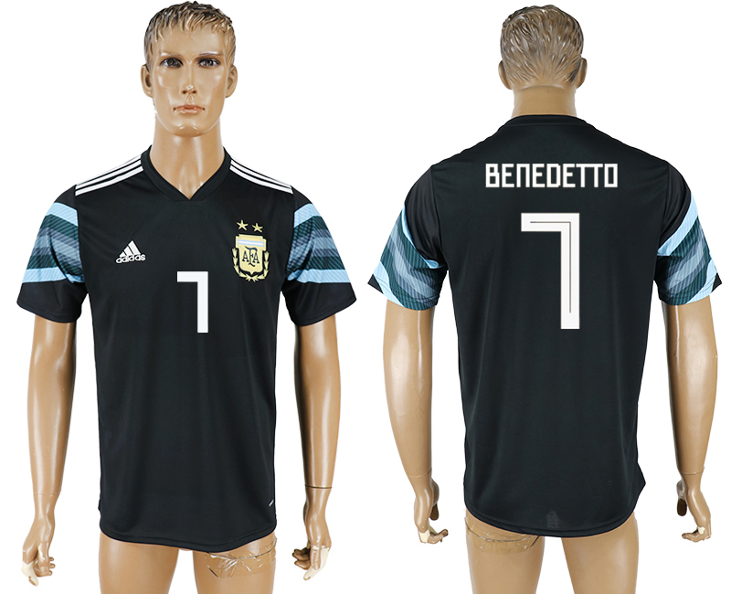 Men 2018 World Cup National Argentina away aaa version 7 black soccer jersey
