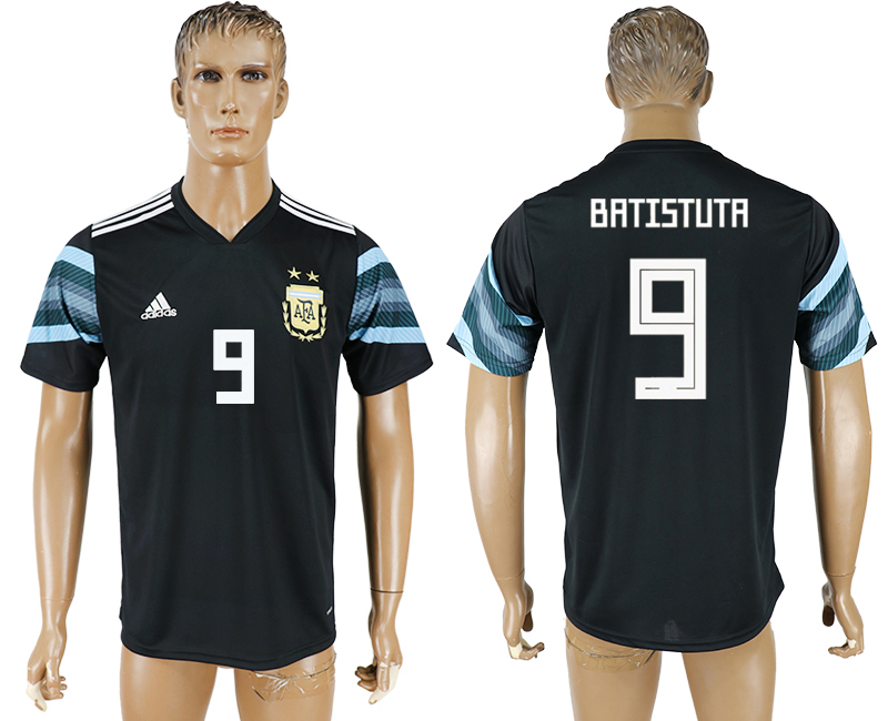 Men 2018 World Cup National Argentina away aaa version 9 black soccer jersey