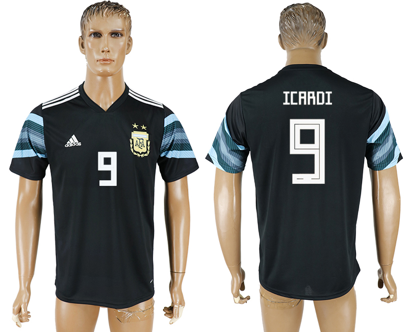 Men 2018 World Cup National Argentina away aaa version 9 black soccer jersey1