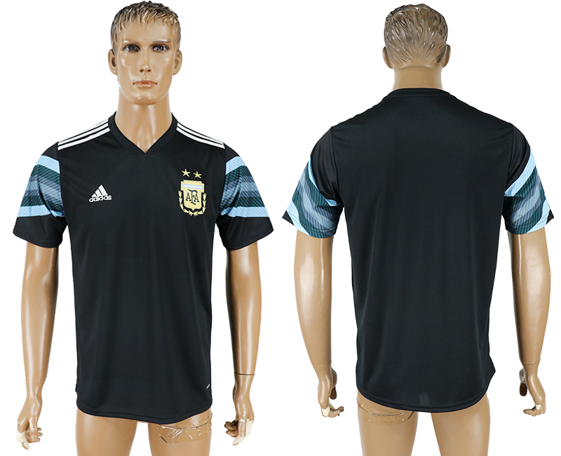 Men 2018 World Cup National Argentina away aaa version black soccer jersey