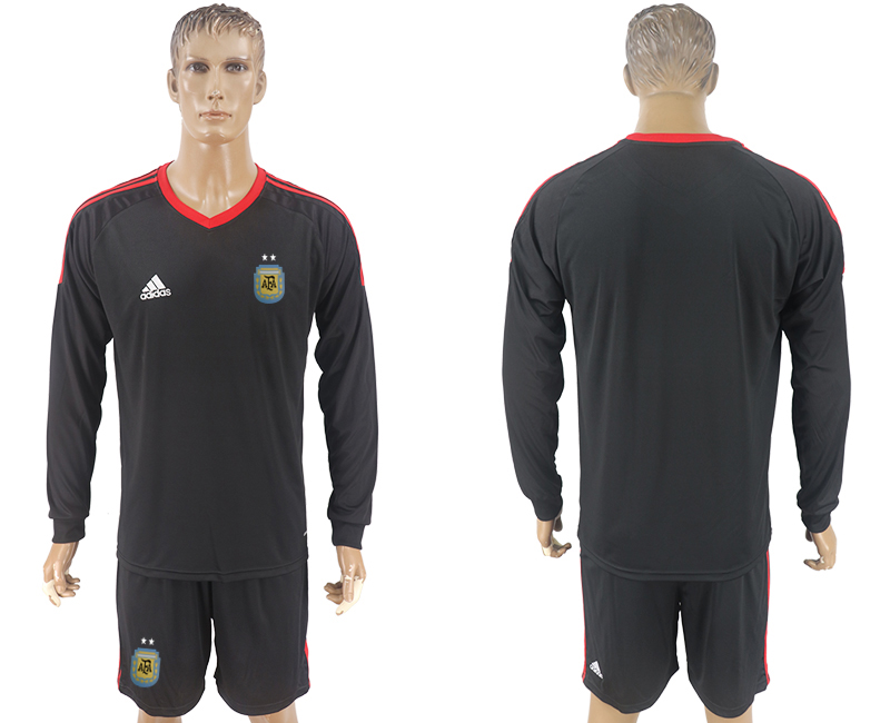 Men 2018 World Cup National Argentina goalkeeper black long sleeve soccer jersey