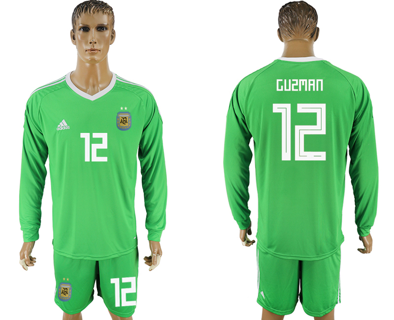Men 2018 World Cup National Argentina green goalkeeper long sleeve 12 soccer jersey