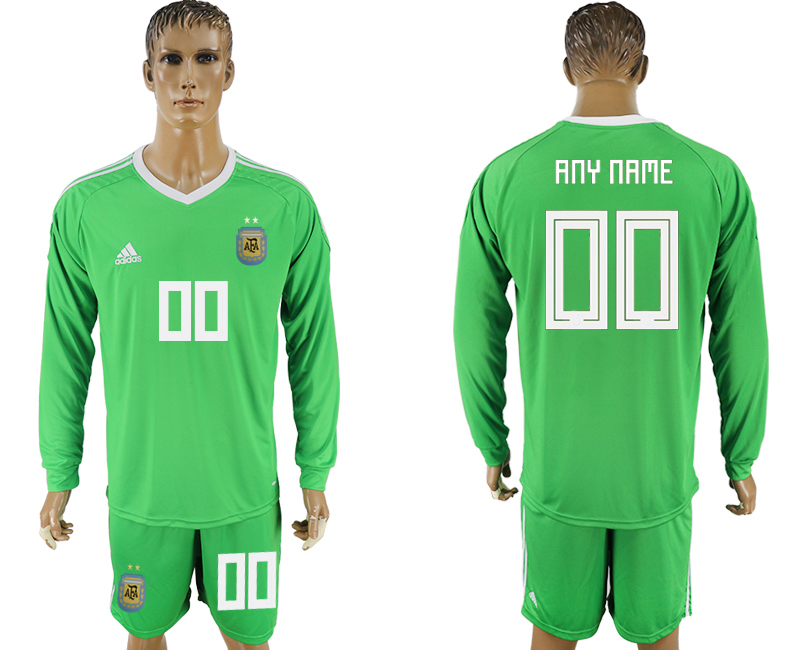 Men 2018 World Cup National Argentina green goalkeeper long sleeve customized soccer jersey