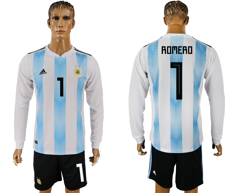 Men 2018 World Cup National Argentina home long sleeve 1 white soccer jersey