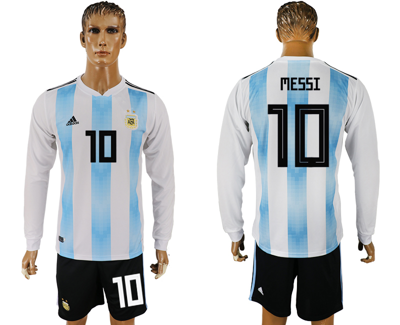 Men 2018 World Cup National Argentina home long sleeve 10 white soccer jersey