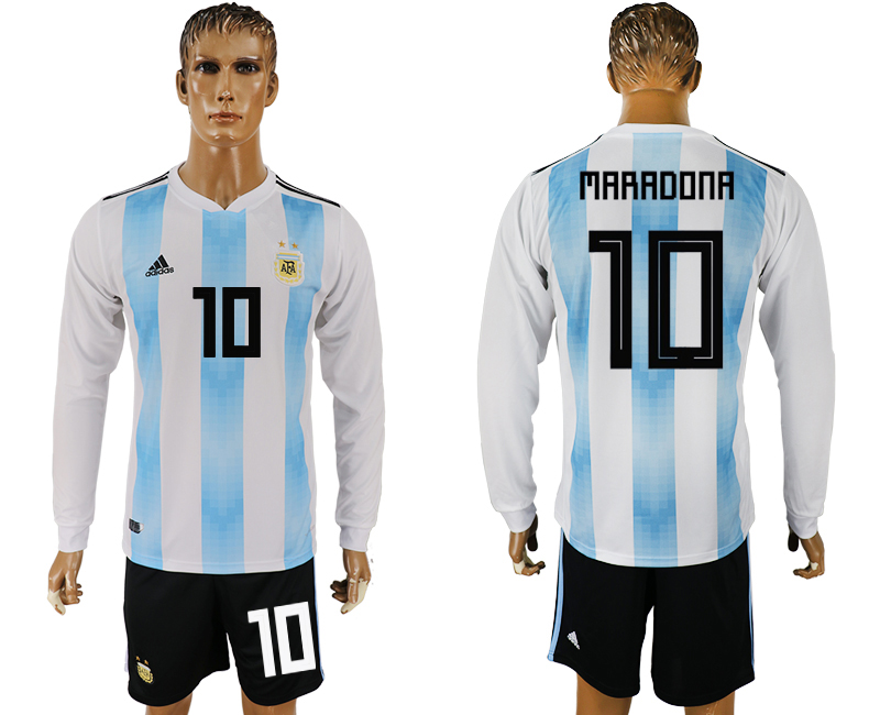 Men 2018 World Cup National Argentina home long sleeve 10 white soccer jersey1