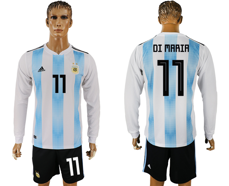 Men 2018 World Cup National Argentina home long sleeve 11 white soccer jersey