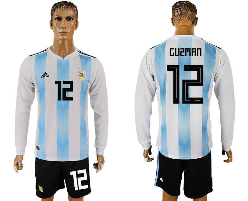 Men 2018 World Cup National Argentina home long sleeve 12 white soccer jersey