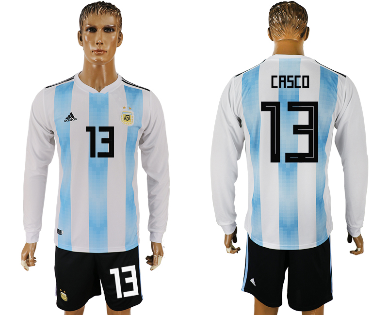 Men 2018 World Cup National Argentina home long sleeve 13 white soccer jersey